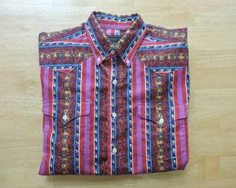 Vintage 80's Panhandle Slim Rodeo Cowboy Shirt Medium Slim Fit