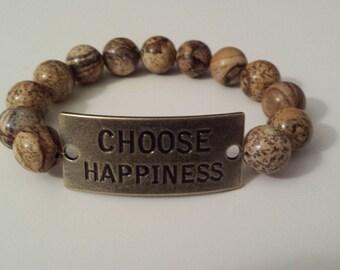 Woodgrain jasper agate beaded bracelet