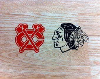 Blackhawks decals - Set of 2 - You Choose Your Color - FREE SHIPPING - Champions