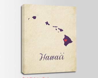 Hawaii Canvas Print, Hawaii Vintage Print, Hawaii Map, Personalized Art, Wall Decor, Vintage Map, Nursery Art, USA