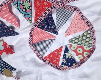 "Mini fabric bunting in ""Pedal Pushers"" by Moda"