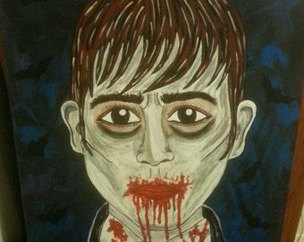 ON SALE!! Dark Shadows Johnny Depp Barnabas Collins cartoony look Original Painting 16x20.