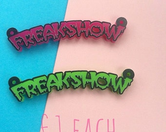 Freakshow laser cut acrylic perspex pendant for jewellery making - pink or green