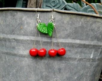 polymer clay earrings, cherry earrings, handmade earrings, handmade jewelry, cherries