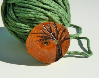 Cypress wood button, Tree button, wood buttons for knitting, crocheting, sewing and scrapbooking