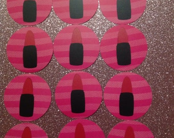 12 red lipstick cupcake toppers