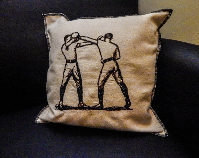Boxing  Embroidered Modern Vintage Graphic Upcycled Canvas Embroidered Boxing