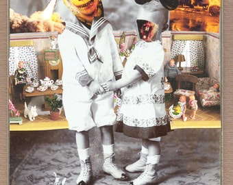 """collage, original surreal collage , paper collage, Art, paper art, cabinet photo, vintage, """" Brothers & Sisters.."""""""