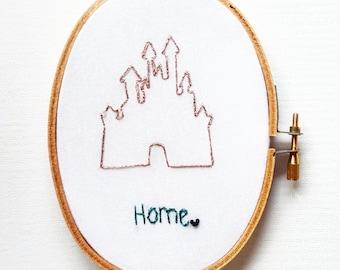 Disneyland - Home - Disney - Embroidery Hoop Art - Hoop Embroidery Wall Hanging