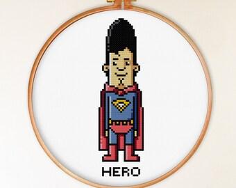 Hero cross stitch pattern modern, superhero cross stitch pattern counted, pixel people cross stitch chart, funny cross stitch pattern
