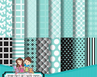 Tiffany Party Girls Digital Papers, Birthday, Digital Paper