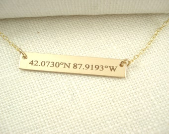 14 kt. Gold filled Latitude longitude Bar Necklace...GPS Coordinates engraved name plate , Sorority gift, monogram, bridesmaid gift