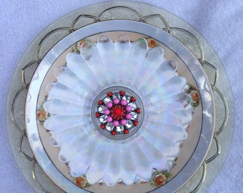 "Glass Vintage Plate Flower ""Tea Party"""