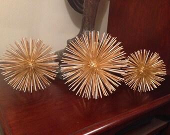 SALE! Set of 3 mid century modern C. Jere', Curtis Jere', Artisan House vintage gold leaf finish metal urchin starburst sculptures