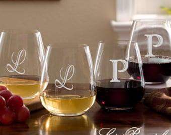 Luigi Bormioli® Engraved Initial Stemless Wine Glass Set