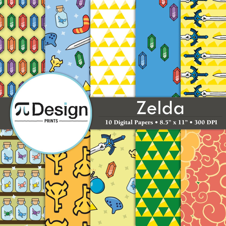 Scrapbook paper designs download - Zelda Inspired 8 5 X11 Digital Paper Pack Of 10 Legend Of Zelda Scrapbooking Paper Video Game Paper Direct Download Printable Art