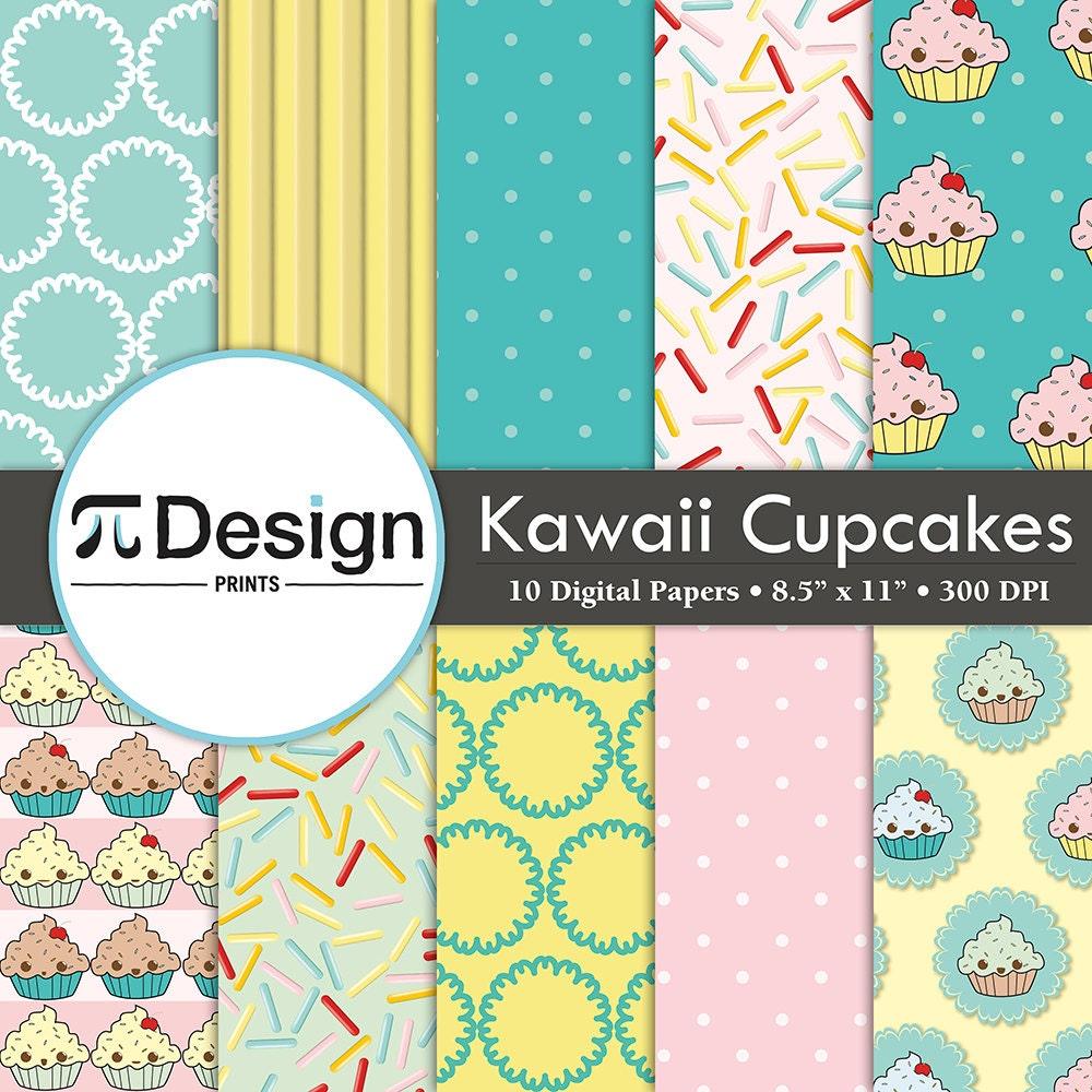 8 5 x11 cute cupcakes digital paper pack of 10 seamless for Cute paper designs