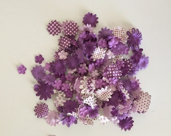 Flower Embellishments, 175 Count of Iced Purple Floral Embellishments, Card Making Flowers, Scrapbooking Flowers, Finishing Flowers