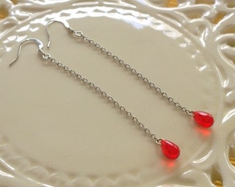 Red Droplet Earrings