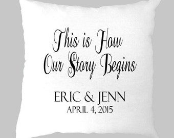 "Personalized ""This is How Our Story Begins"" Black and White Pillow Cover"