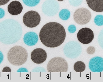 Bubble dot cuddle minky fabric by the yard - topaz and aqua