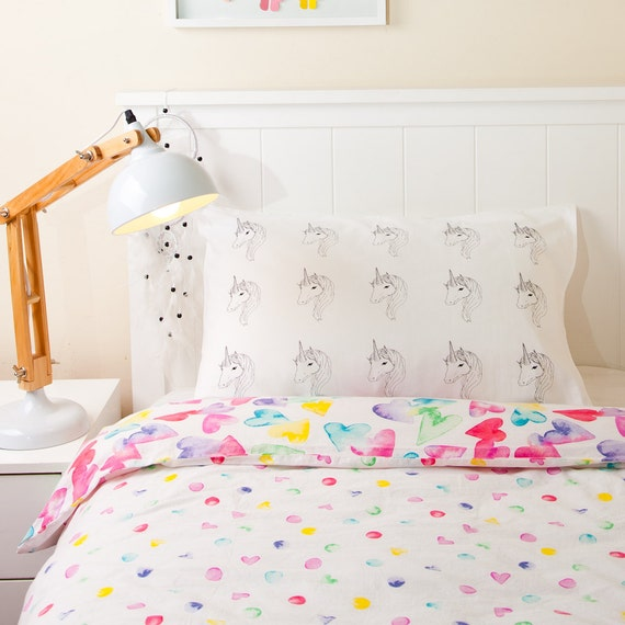 Pillowcase Unicorn Screen Printed Girls Bedroom Decor