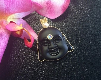 Gold Filled Wire Wrapped Carved Frosted Obsidian Happy Buddha Head Pendant