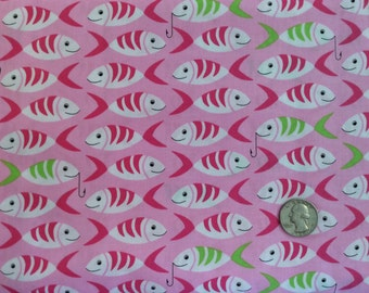 Little Fishies Pink Fabric by Michael Miller