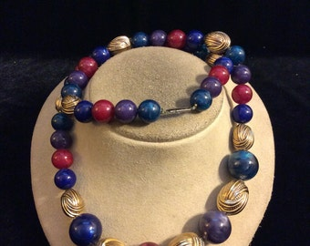 Vintage Chunky Multi Colored Beaded Necklace