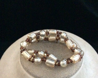 Vintage Shades Of Brown Glass Beaded Bracelet