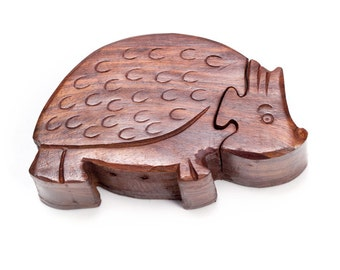 Hand Carved Hedgehog Puzzle Box