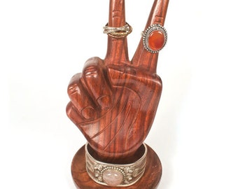 Hand Carved Wooden Peace Hand