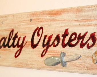 Salty Oysters - cypress wood sign with oyster shell and handcarved oyster knife