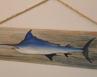 Marlin- silhouette on cypress wood plank with rope hanger