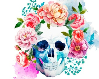 2 Watercolor Floral Skull Temporary Tattoo, various sizes available Halloween Costume Gothic Day of the Dead