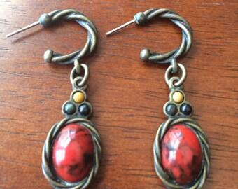 Vintage 80s Red Earrings