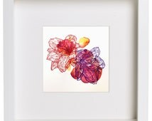 Abstract Flowers, Watercolor Painting, Floral Drawing, Framed Art, Original Art