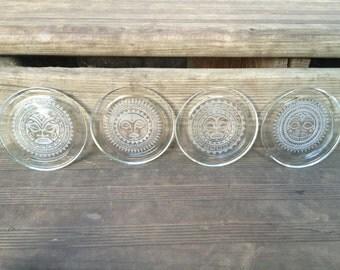 Mayan mask glass sandblasted coasters set of four