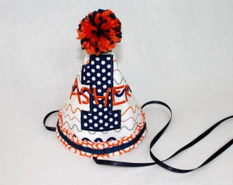 Boy's First Birthday Party Hat  - Orange and Navy.  Includes personalization.