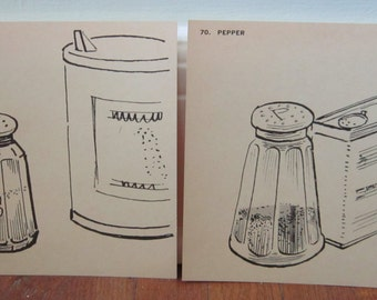 Dog Days of Summer Sale!!! Now 20% Off!! Set of Two Vintage Flash Cards - Salt and Pepper
