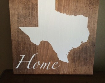 Texas Wood Sign, Rustic, Home Decor, Handmade, State Sign