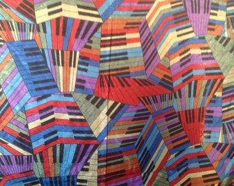 1980's vintage silky brightly colored keyboard fabric, 3 yards x 42
