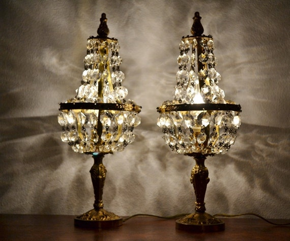2 Antique Crystal Bronze Table Lamps Shabby Chic By VintageofItaly