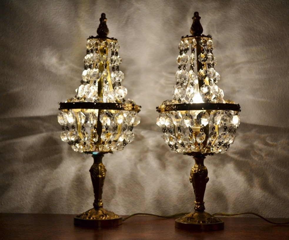 antique crystal bronze table lamps shabby chic night light. Black Bedroom Furniture Sets. Home Design Ideas