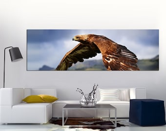 """Photo of a Falcon flying Printed on a Canvas. Eagle, Falcon, Stretched print on 1.5"""" deep frames. Great for home, office decor & interior"""