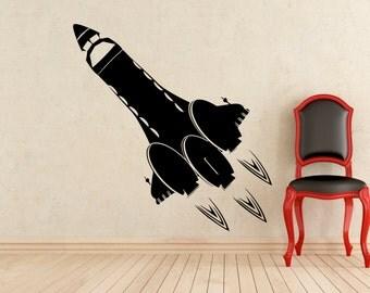 Rocket Wall Vinyl Decal Spaceship Nursery Sticker Home Interior Murals Art Decoration (711x)