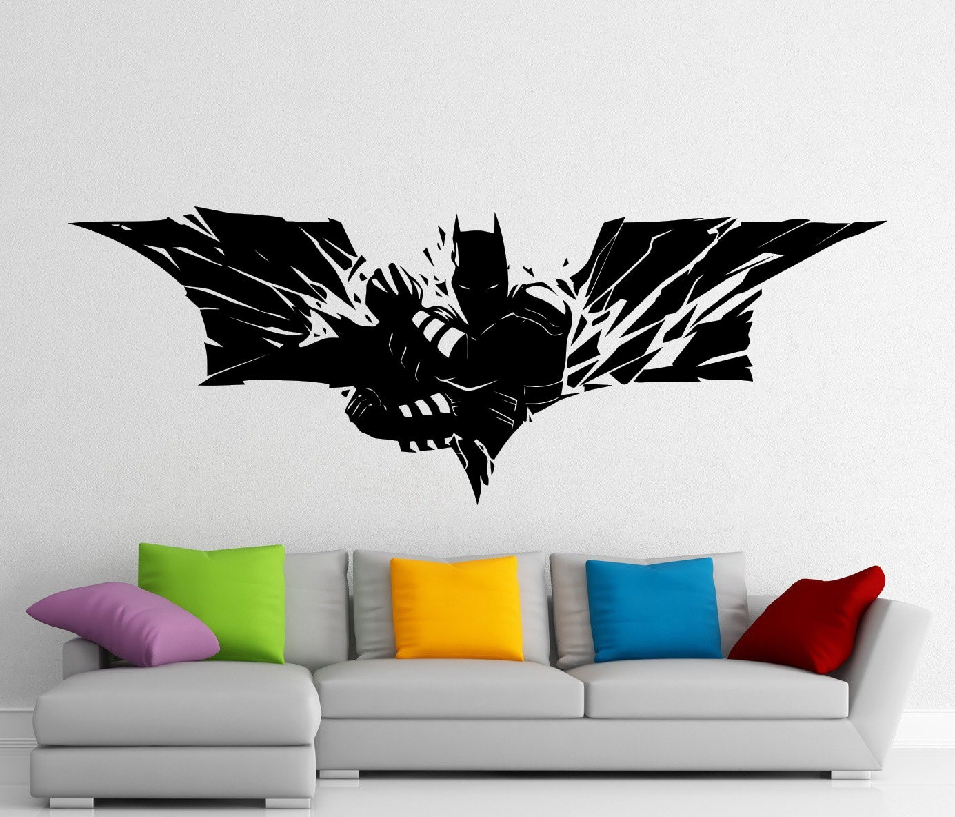 Batman dark knight stickers wall vinyl decals home interior for Dark knight mural