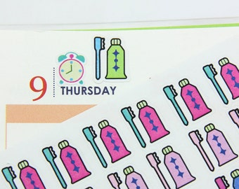 168 Toothbrush Planner Stickers,  Perfect for Erin Condren, Limelife, Plum Paper, or Filofax Planners- ECLP1215