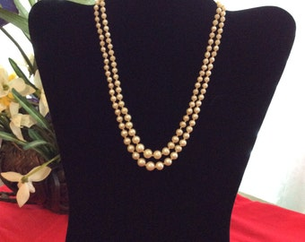 Faux Pearl Double Strand Necklace with Green Stone Clasp