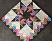 Log Cabin Star Quilt - Pinks, Teals, Purples, Greens, Browns